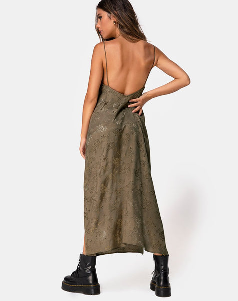 Hime Maxi Dress in Satin Rose Silver Grey by Motel