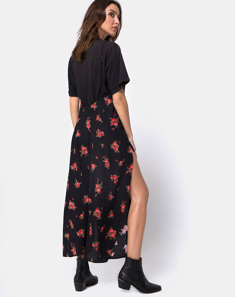 Hime Maxi Dress in Soi Rose Black and Red by Motel