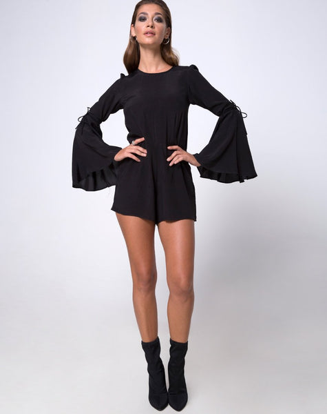 Holila Flute Sleeve Playsuit in Black by Motel