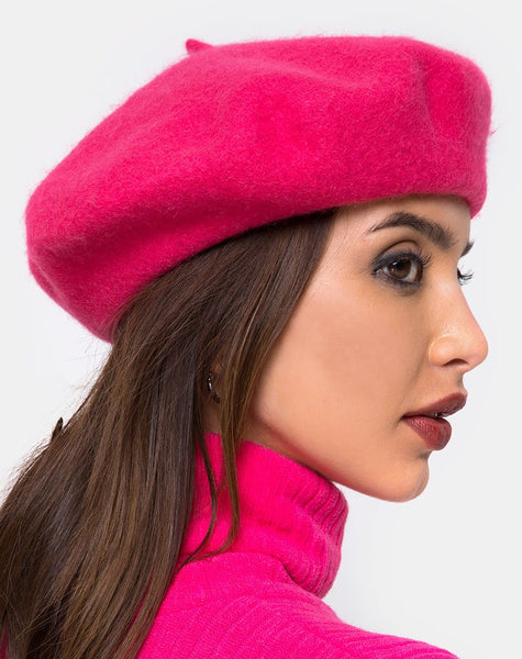 Wool Beret in Pink By Motel