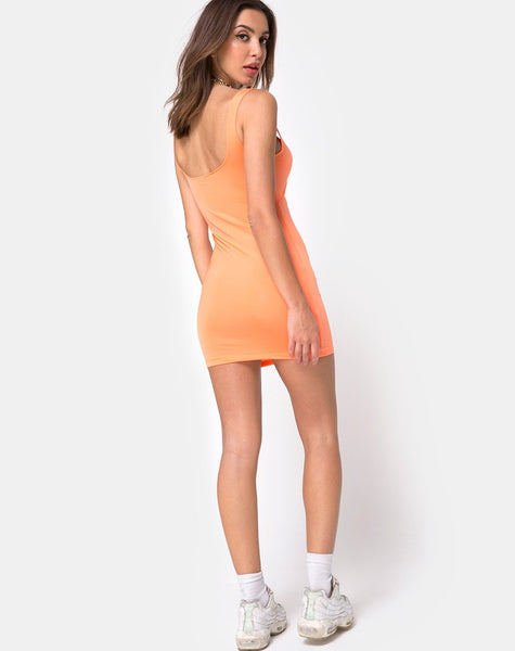 Hulana Bodycon Dress in Fluro Orange by Motel