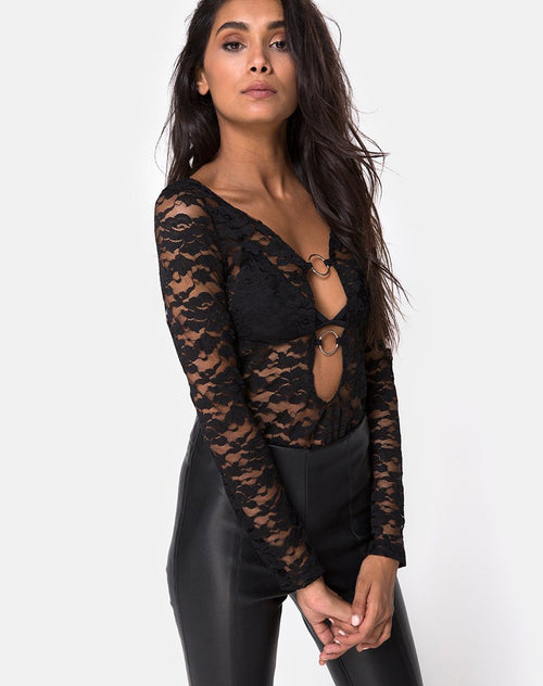Huriya Bodice in Lace Black by Motel