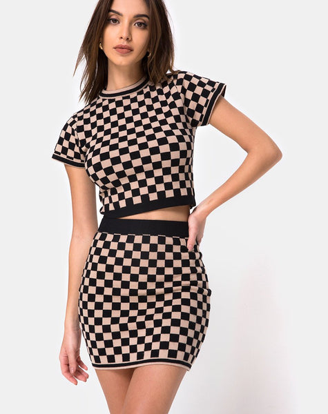 Immie Mini Skirt in Checkerboard Tan by Motel