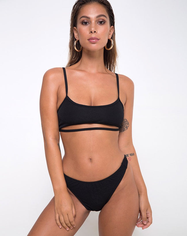 Ina Bottom Bikini in Texture Black by Motel