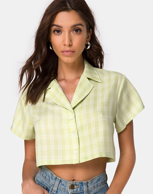 Indiana Cropped Shirt in Sage Check by Motel