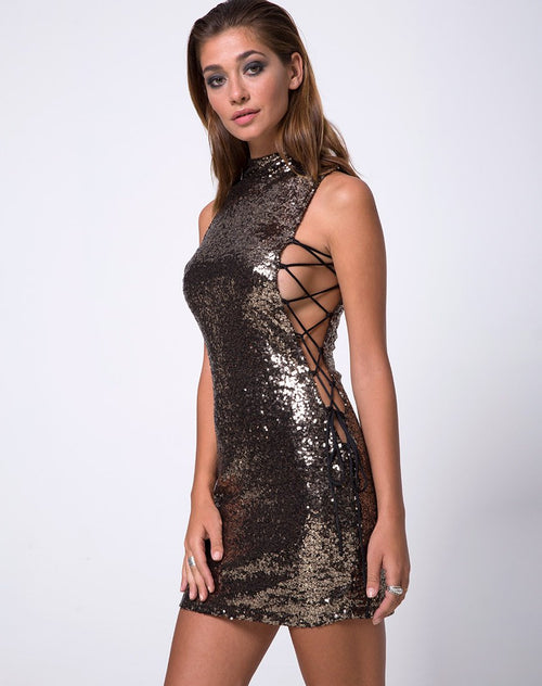 Infinity Dress in Mini Fleck Sequin Black and Gold by Motel