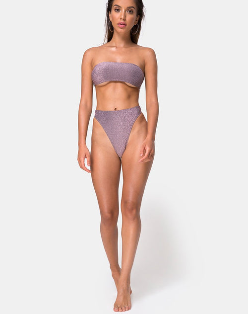 Izarla High Waisted Bikini Bottom in Gunmetal Glitter by Motel