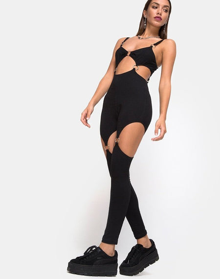 Jasola Cutout Unitard in Black by Motel
