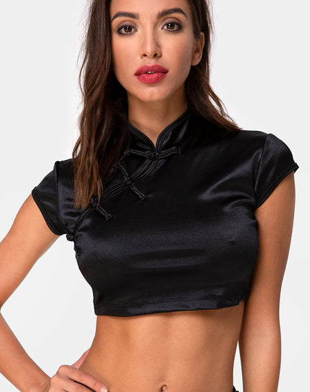 Elina Top in Black Satin Cheetah by Motel