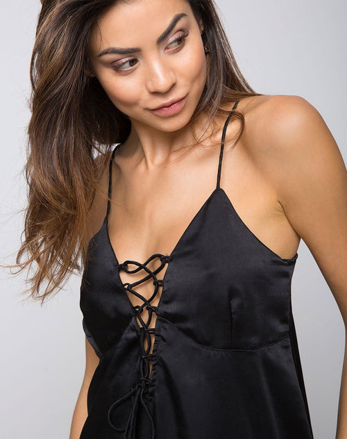 Jasher Slip Dress in Satin Black by Motel