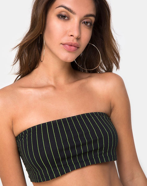 Jeevan Bandeau Top in Neon Pinstripe by Motel