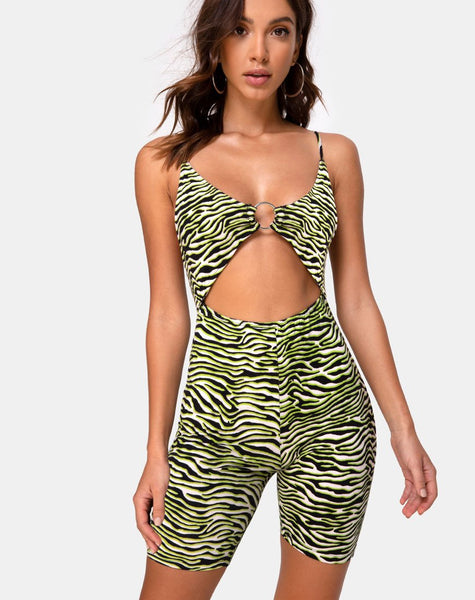 Jepu Unitard in Zebra Fluro Green by Motel