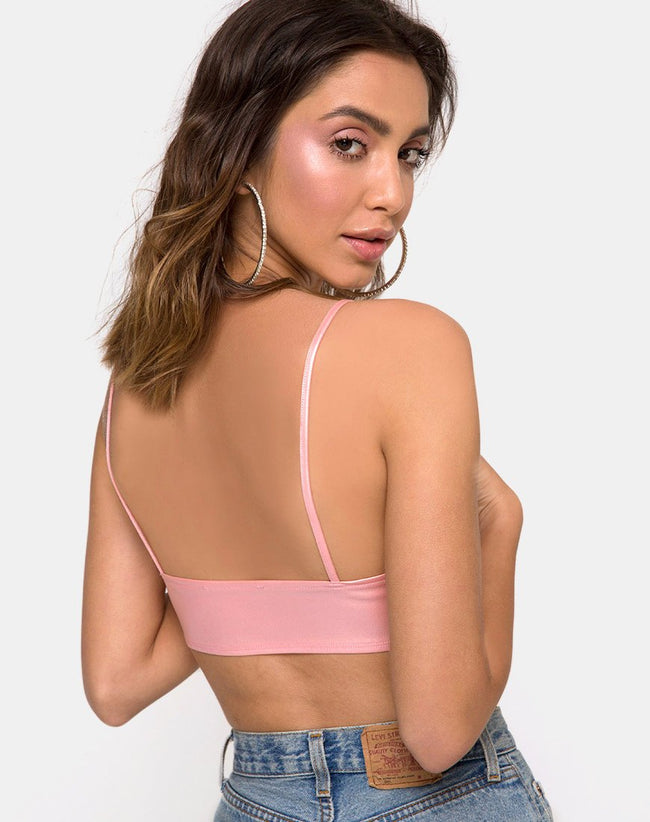 Jessie Bralet in Metallic Shimmer Baby Pink by Motel