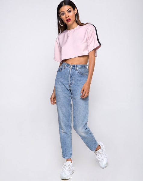 Jiho Crop Top in Blush with Black Stripe by Motel