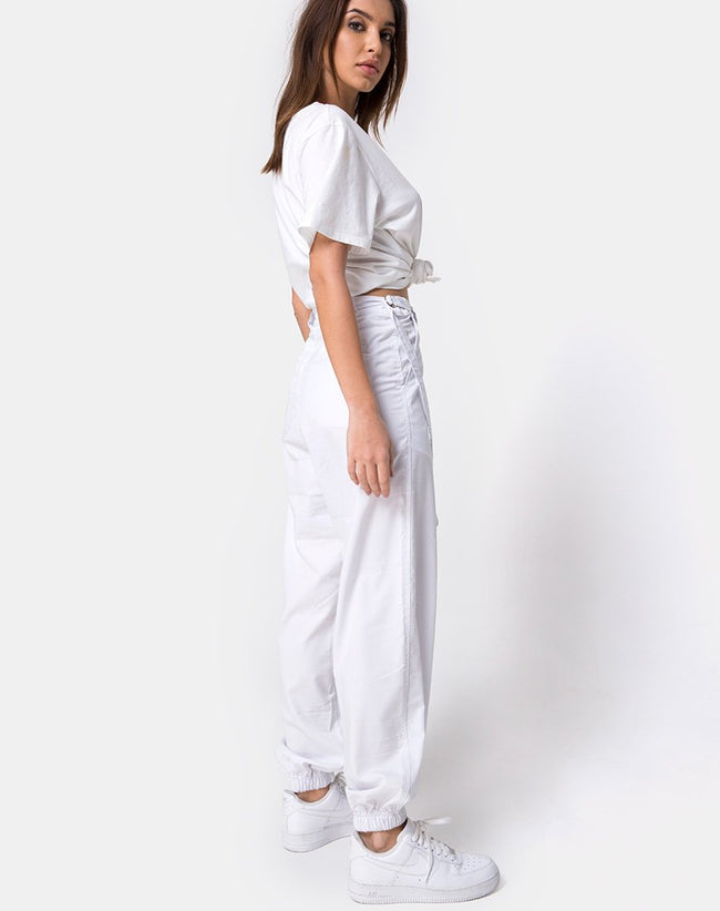 Jubie Cargo Trouser in White Drill by Motel