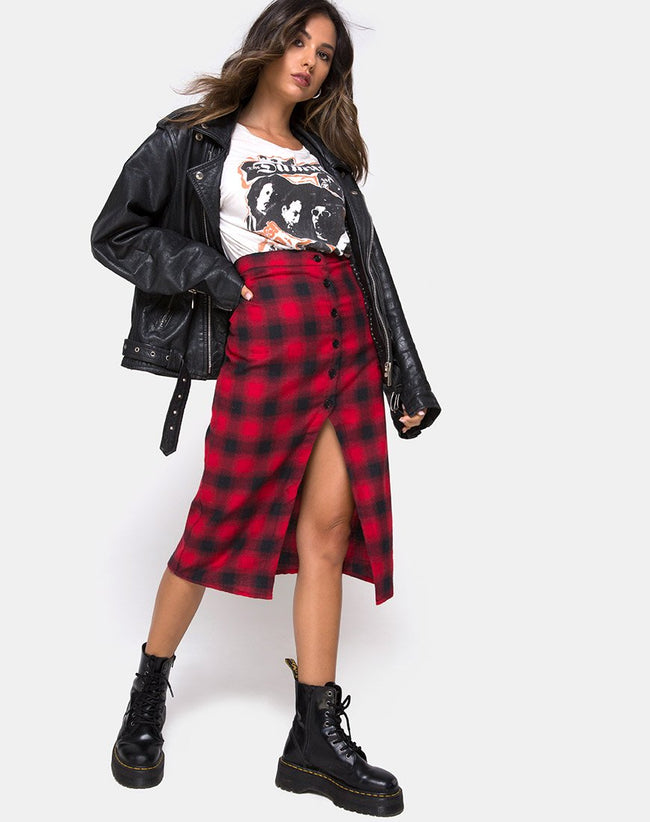 Kaisa Midi Skirt in Plaid Red Black by Motel