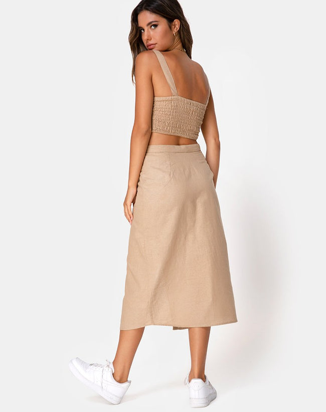Kaisa Midi Skirt in Taupe by Motel
