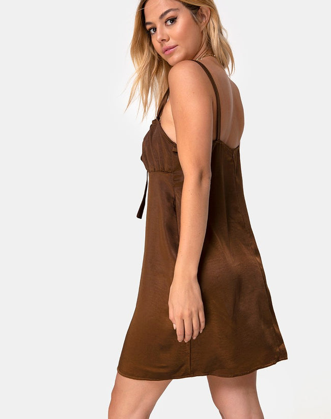 Kamalia Slip Dress in Satin Brown by Motel
