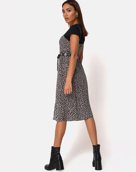 Kaoya Midi Dress in Ditsy Rose Black by Motel