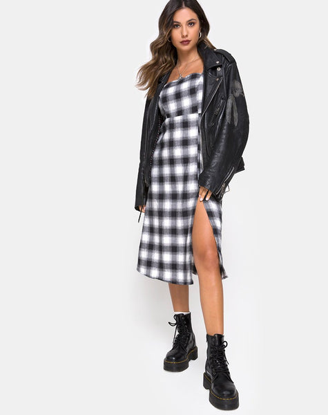 Kaoya Dress in Plaid Black White by Motel
