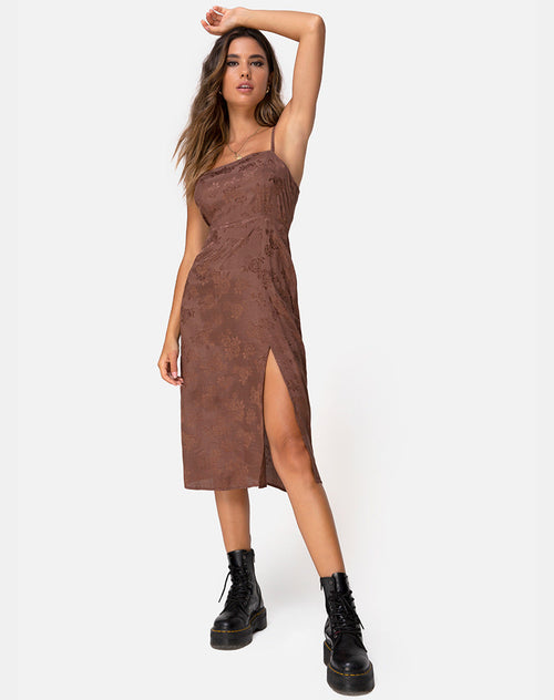 Kaoya Midi Dress in Satin Rose Chocolate by Motel