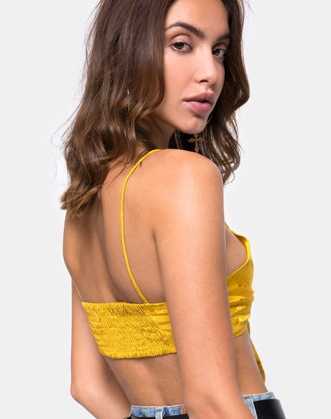 Kasen Bralet in Satin Mustard Rose by Motel
