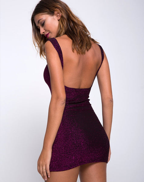 Katia Dress in Glitter Burgundy by Motel