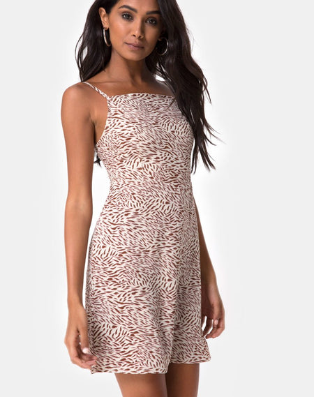 Auvaly Slip Dress in Antique Rose Black by Motel