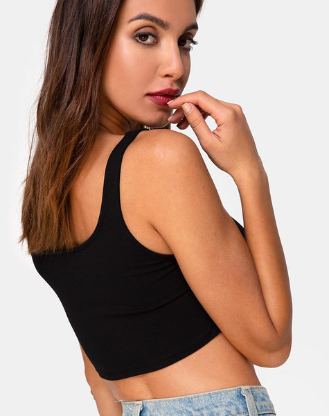 Keddo Crop Top in Black by Motel