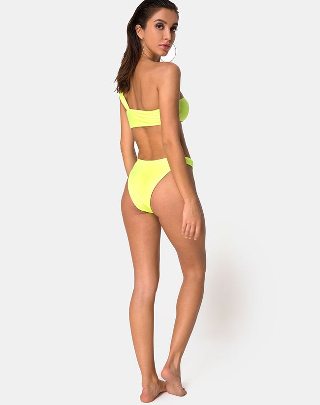 Keila Bikini Bottom in Coated Lime by Motel
