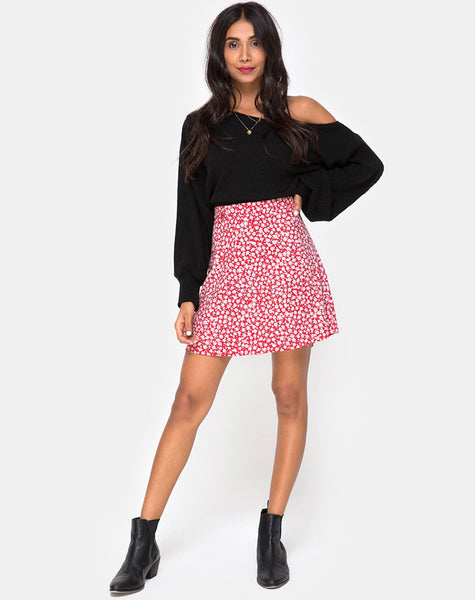 Kheb A-line Skirt in Ditsy Rose Red and Silver by Motel