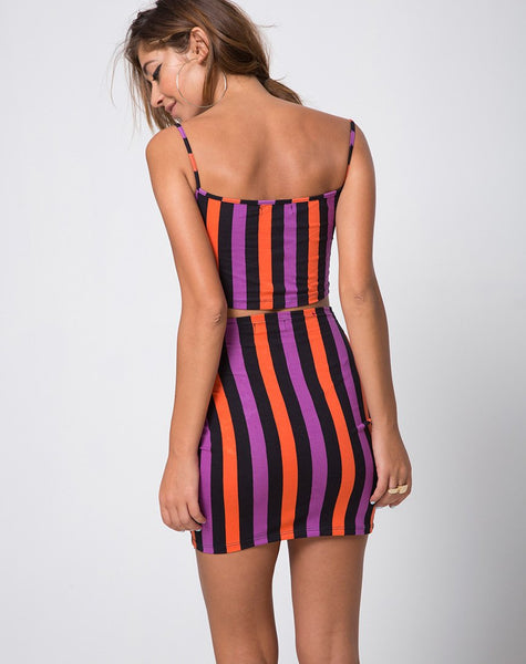 Kimmy Bodycon Skirt in Purple and Orange Stripe by Motel