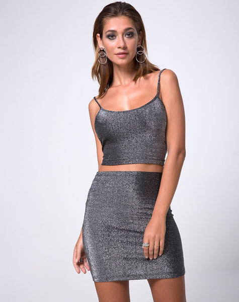 Kimmy Mini Skirt in Glitter Lurex Silver by Motel