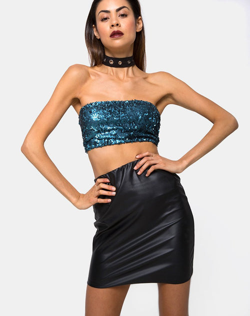 Kimmy Bodycon Skirt in Pu Matte Black by Motel
