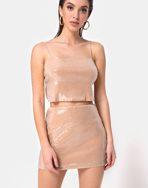 Champo Crop Top in Camel with Clear Sequin by Motel
