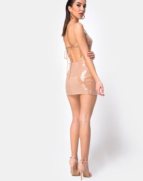 Kimmy Bodycon Skirt in Camel with Clear Sequin by Motel
