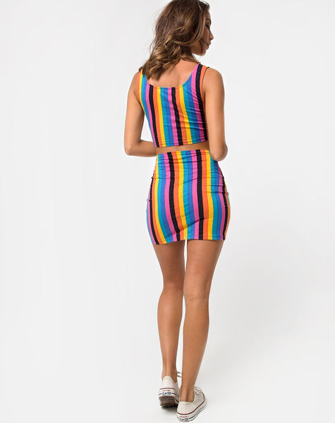 Kimmy Bodycon Skirt in New Vertical Mixed Stripe by Motel
