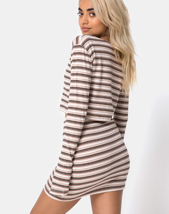 Kimmy Bodycon Skirt in Rib Stripe Cream Black and Tan by Motel