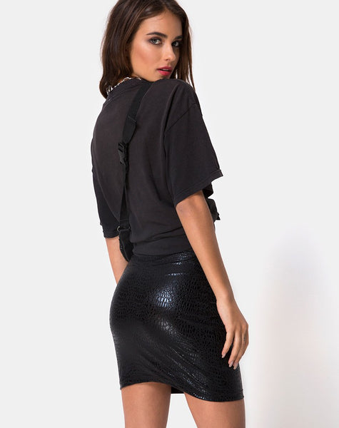 Kimmy Skirt in Snake Black By Motel