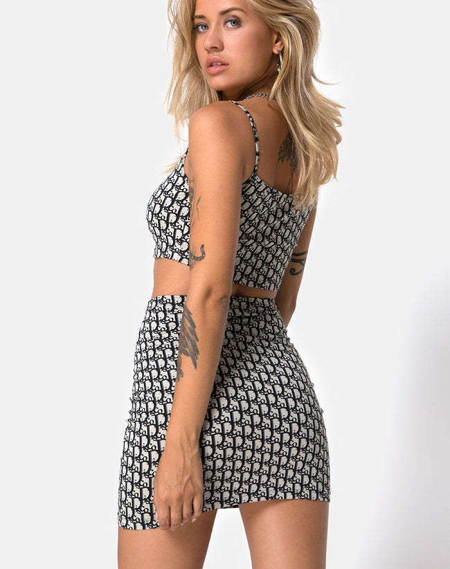 Kimmy Skirt in Blue Disco By Motel