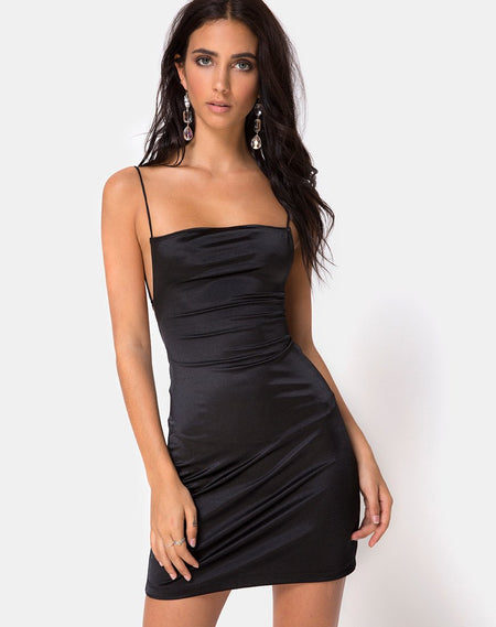Datista Slip Dress in Satin Rose Black by Motel