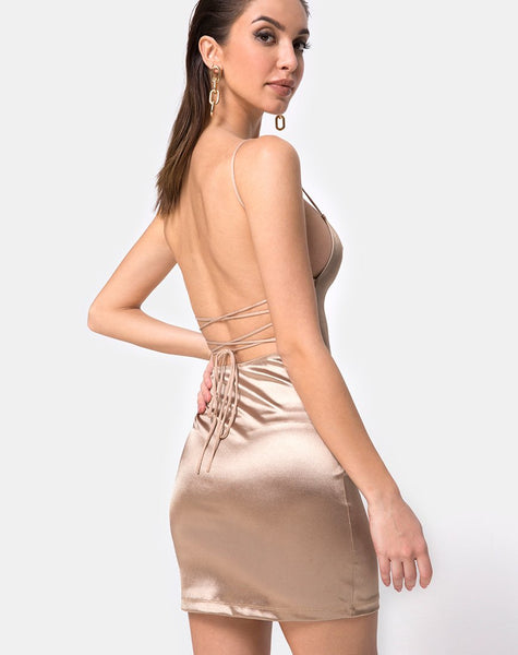 Kozue Dress in Satin Gold By Motel