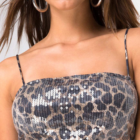 Kylie Crop Top in Leopard with Clear Sequin by Motel