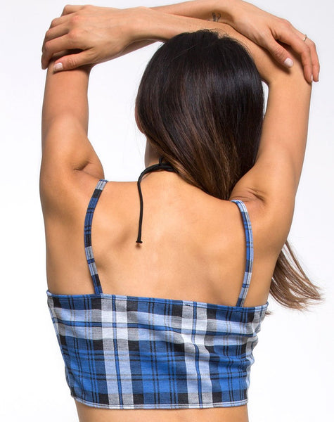 Kylie Crop Top in Plaid Stretch Blue by Motel