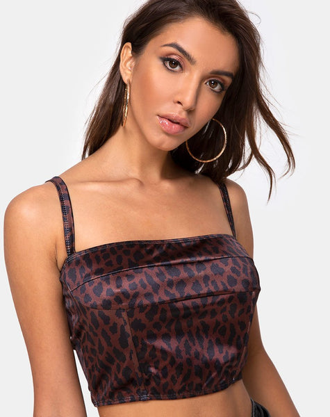 Kyenette Crop Top in Coco Animal by Motel
