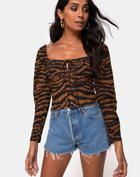 Bilen Crop Top in Leopard by Motel