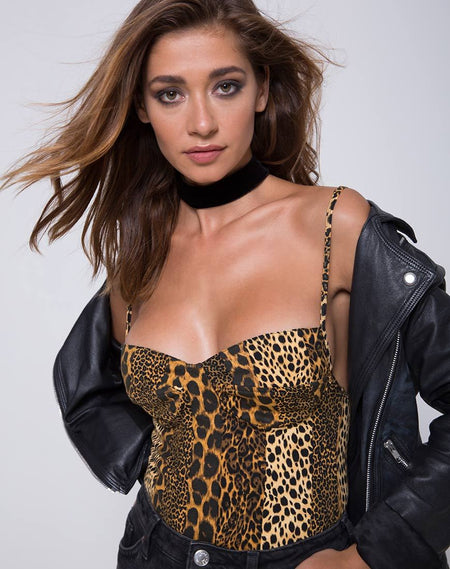 Lao Plunge Bodice in Rar Leopard Brown by Motel
