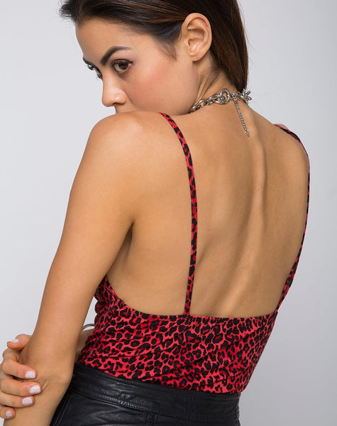 Lanti Bodice in Coloured Animal Red by Motel