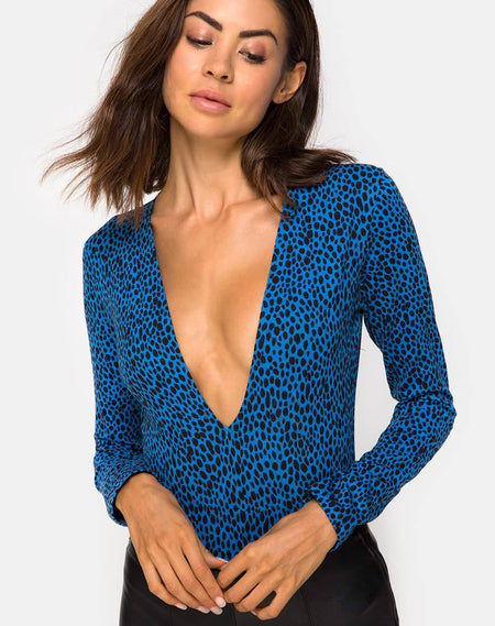 Bida Bodice in Grey Rar Leopard By Motel