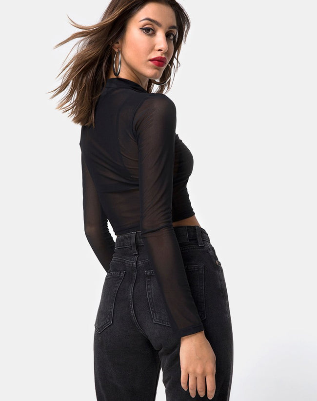 Rhala Crop Top in Black Net by Motel